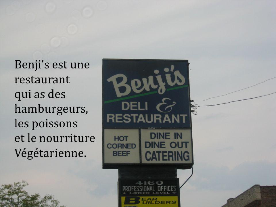 Benjis est une restaurant qui as des hamburgeurs, les poissons et le nourriture Végétarienne.