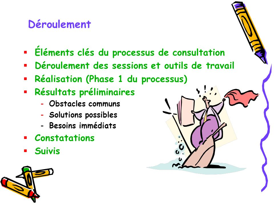 Déroulement Éléments clés du processus de consultation Déroulement des sessions et outils de travail Réalisation (Phase 1 du processus) Résultats préliminaires -Obstacles communs -Solutions possibles -Besoins immédiats Constatations Suivis