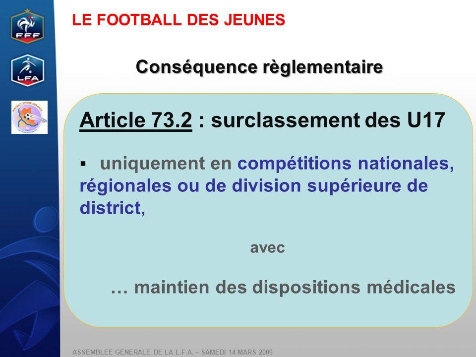 ASSEMBLEE GENERALE DE LA L.F.A. – SAMEDI 14 MARS 2009 Conséquence règlementaire Article 73.2 : surclassement des U17 uniquement en compétitions nation