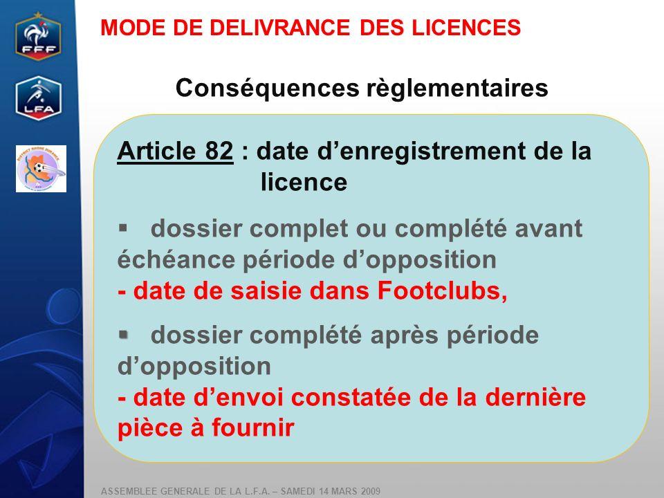 ASSEMBLEE GENERALE DE LA L.F.A. – SAMEDI 14 MARS 2009 Conséquences règlementaires Article 82 : date denregistrement de la licence dossier complet ou c