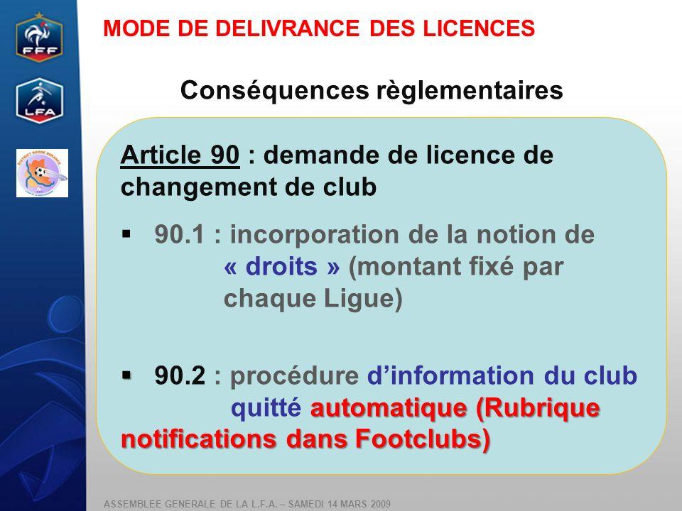 ASSEMBLEE GENERALE DE LA L.F.A. – SAMEDI 14 MARS 2009 Conséquences règlementaires Article 90 : demande de licence de changement de club 90.1 : incorpo