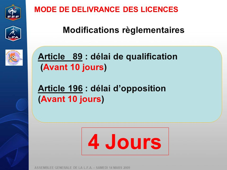 ASSEMBLEE GENERALE DE LA L.F.A. – SAMEDI 14 MARS 2009 Modifications règlementaires Article 89 : délai de qualification (Avant 10 jours) Article 196 :