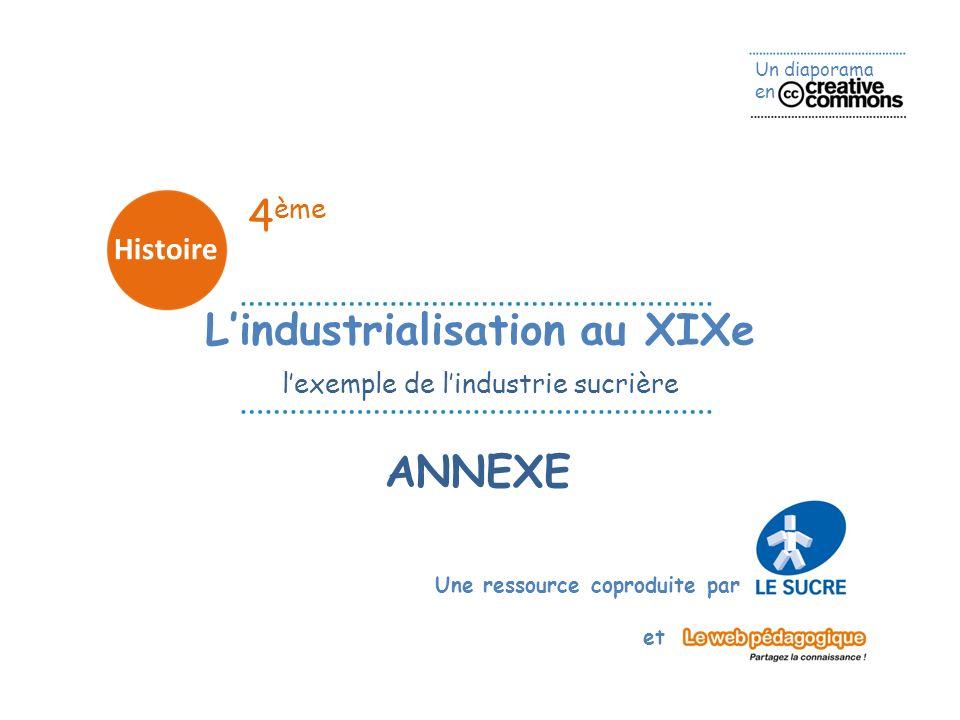 Un diaporama en Une ressource coproduite par et 4 ème Histoire ANNEXE Lindustrialisation au XIXe lexemple de lindustrie sucrière
