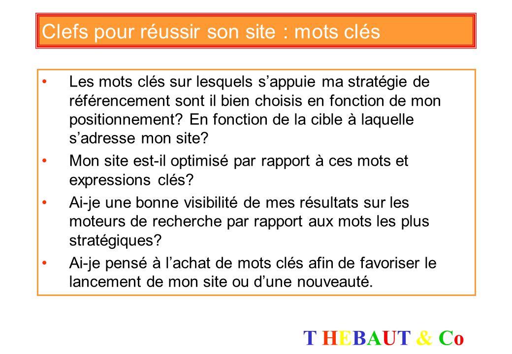 T HEBAUT & CoT HEBAUT & Co Clefs pour réussir son site : cohérence Ai-je identifié les segments de cible auxquels sadresse mon site? Les actions de re