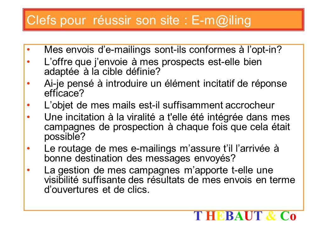 T HEBAUT & CoT HEBAUT & Co Clefs pour réussir son site : visibilité Ai-je identifié et contacté le sites avec lesquels je peux échanger de la visibili