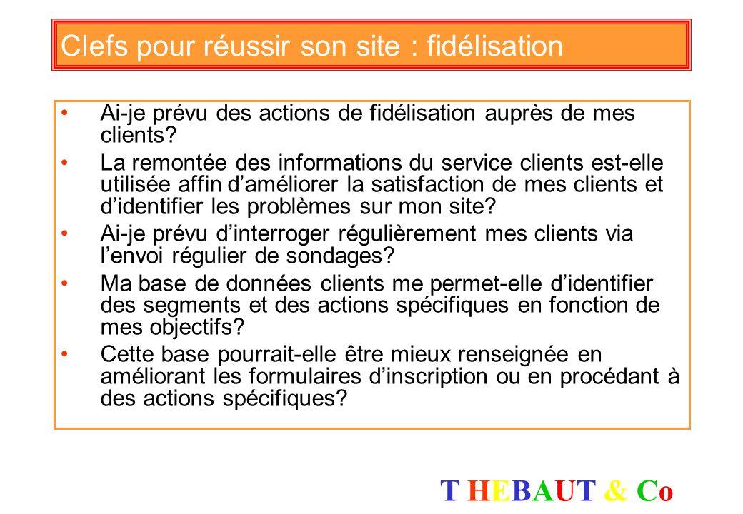 T HEBAUT & CoT HEBAUT & Co Clefs pour réussir son site : suivi Ai-je une bonne visibilité du résultat de mes opérations : avant, pendant et après le d