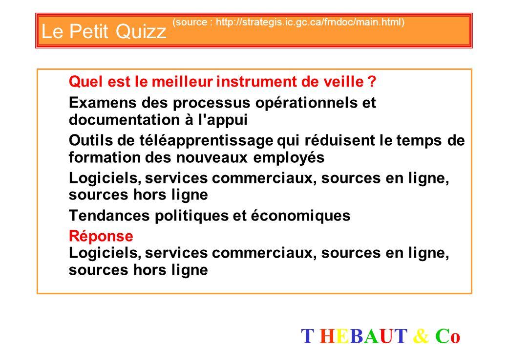 T HEBAUT & CoT HEBAUT & Co Le Petit Quizz (source : http://strategis.ic.gc.ca/frndoc/main.html) Quel est le plus pertinent pour votre service Clients