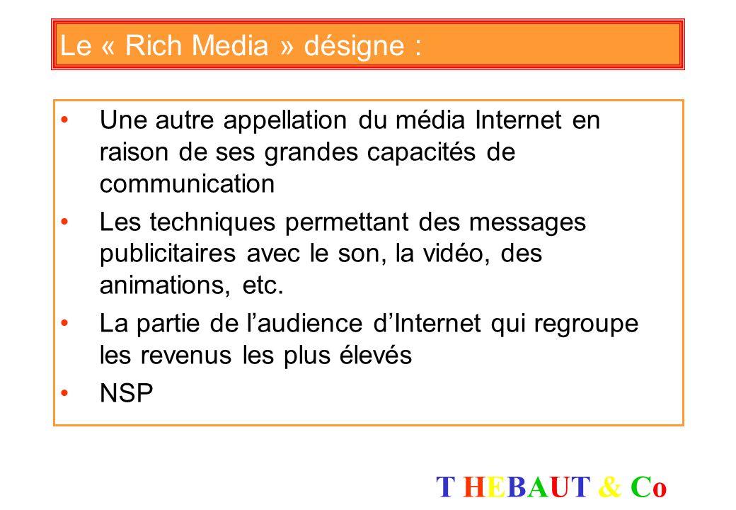 T HEBAUT & CoT HEBAUT & Co Le marché publicitaire des liens promotionnels progresse plus vite que celui des bannières : Vrai Faux NSP