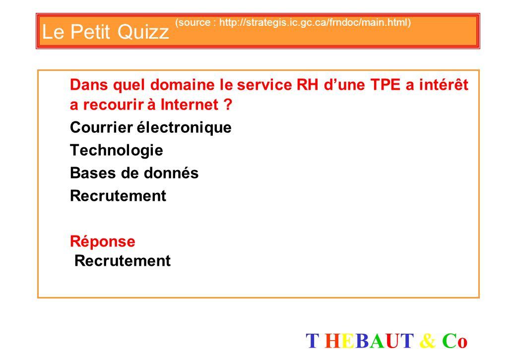T HEBAUT & CoT HEBAUT & Co Le Petit Quizz (source : http://strategis.ic.gc.ca/frndoc/main.html) Quel est le meilleur instrument de veille ? Examens de