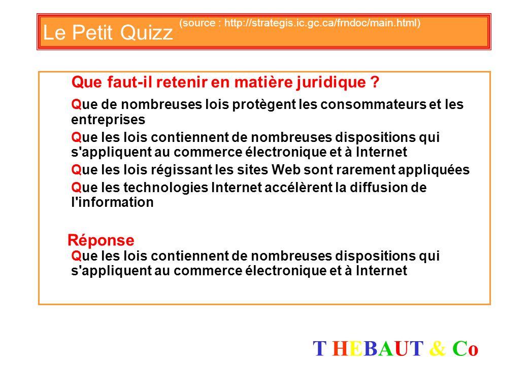 T HEBAUT & CoT HEBAUT & Co Le Petit Quizz (source : http://strategis.ic.gc.ca/frndoc/main.html) Quel élément est essentiel dans le E-business ? Le pir