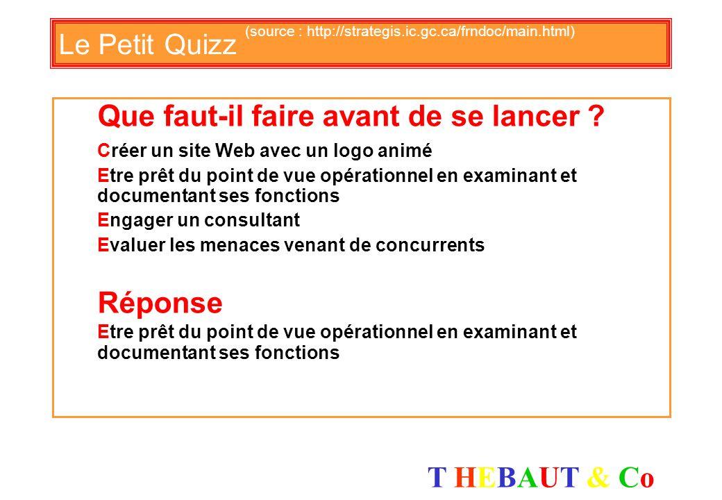 T HEBAUT & CoT HEBAUT & Co Le Petit Quizz (source : http://strategis.ic.gc.ca/frndoc/main.html) Quel est lobjectif dune stratégie E-business ? de crée