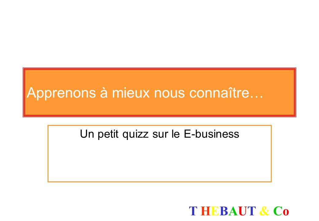 T HEBAUT & CoT HEBAUT & Co Le Petit Quizz (source : http://strategis.ic.gc.ca/frndoc/main.html) L e succès humain dun projet E-business passe par...