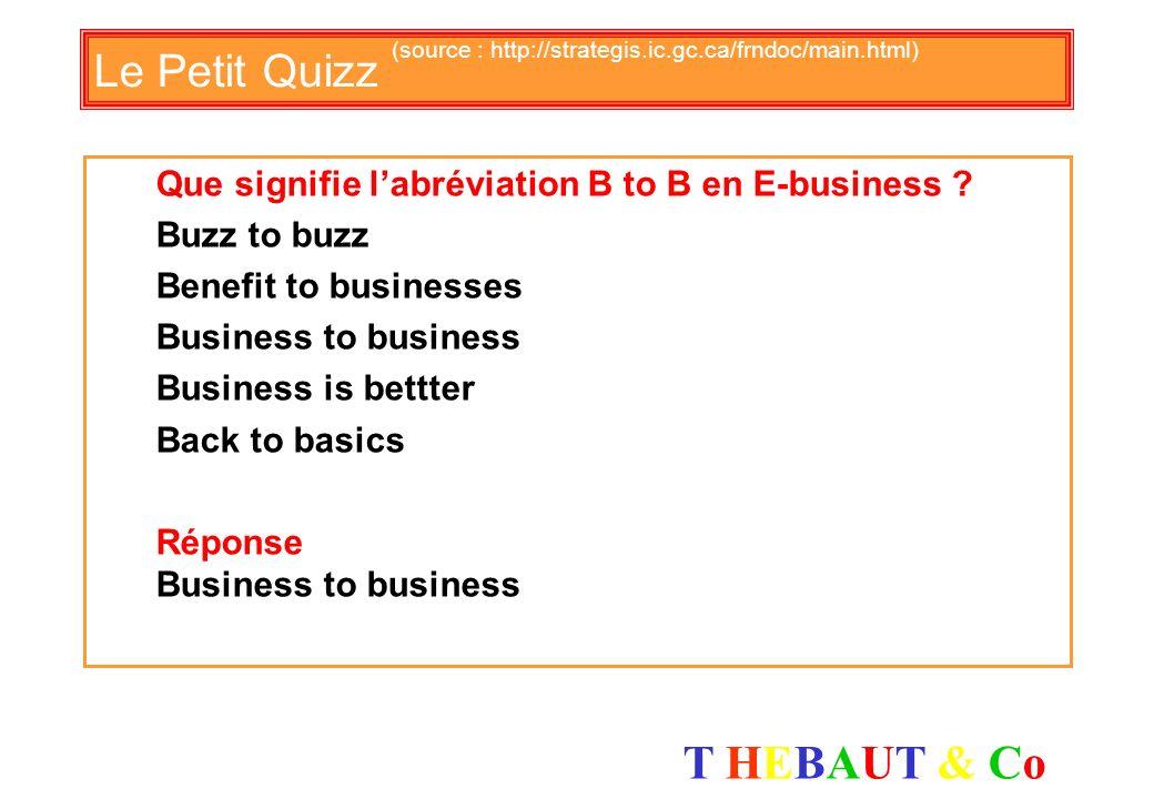 T HEBAUT & CoT HEBAUT & Co Le Petit Quizz (source : http://strategis.ic.gc.ca/frndoc/main.html) Que signifie labréviation B to B en E-business .