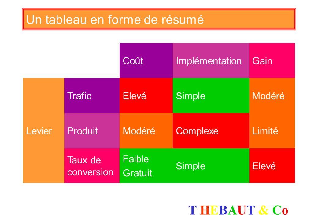 T HEBAUT & CoT HEBAUT & Co Type de recommandations apportées Travailler des contenus sur les outils : news, … Poser des questions simples et pratiques