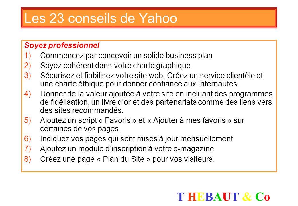 T HEBAUT & CoT HEBAUT & Co 7 étapes pour créer un site qui vend 1)Créez votre slogan marketing 2)Attirez des prospects 3)Qualifiez des prospects 4)Con
