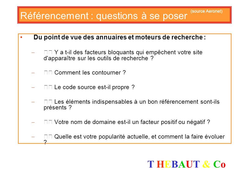 T HEBAUT & CoT HEBAUT & Co Référencement : questions à se poser (source Aeronet) Du point de vue de l'internaute : – Pourquoi les internautes ne reste