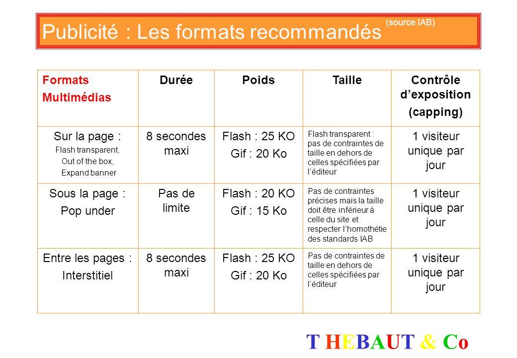 T HEBAUT & CoT HEBAUT & Co Formats (en pixels)Poids maximum conseillé (en Ko) Bannières 468 x 6015 Bannières 728 x 9025 Skyscraper 120 x 60020 Skyscra