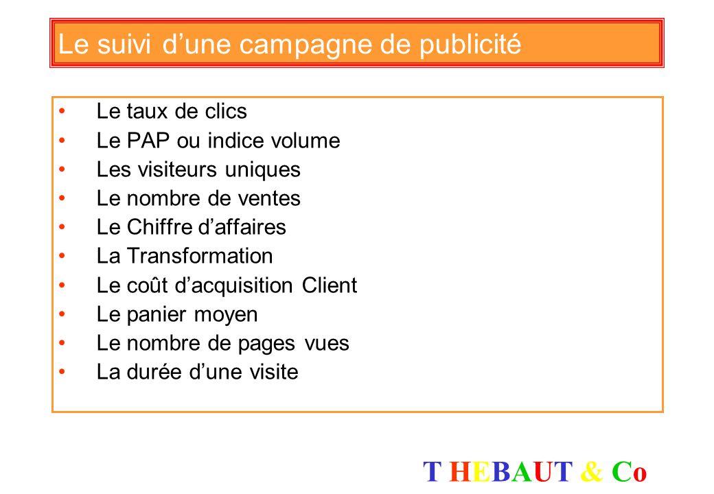 T HEBAUT & CoT HEBAUT & Co Le schéma de la publicité (source Tradedoubler) Traffic / Internautes Visiteurs Tracking Attention Intérêt Désir Action CPM