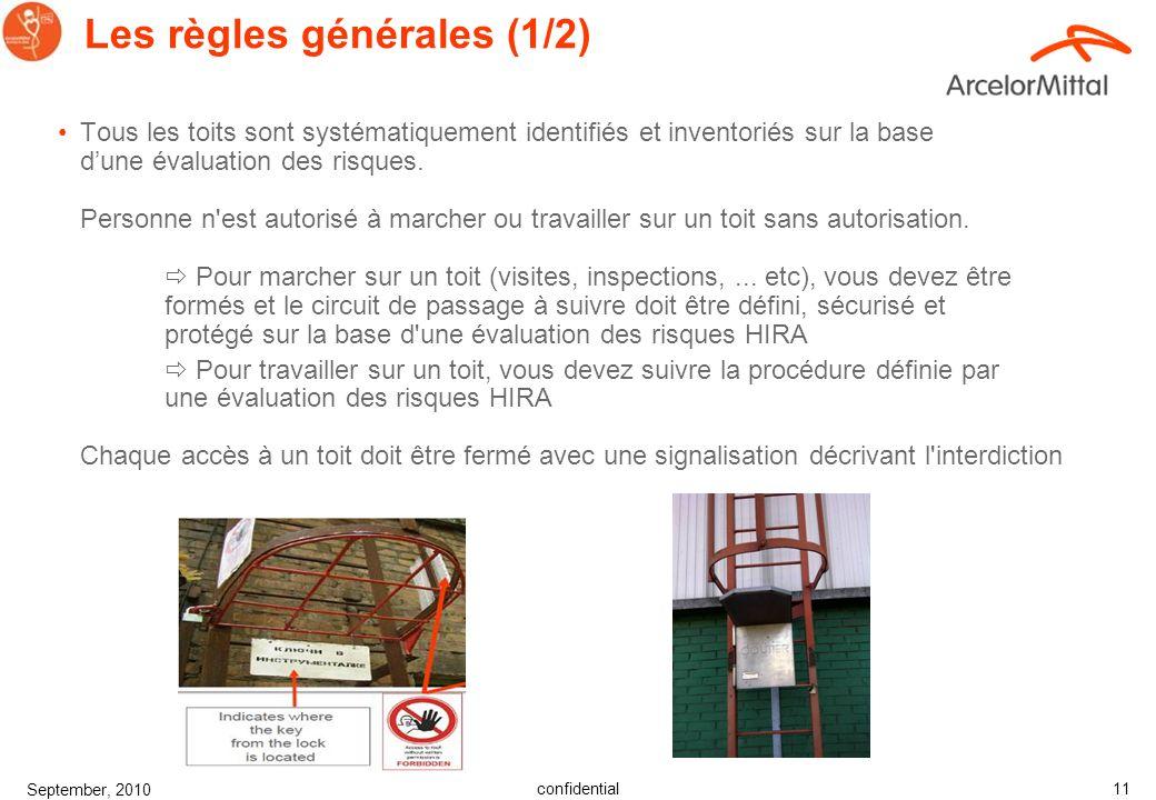 confidential September, 2010 10 Les principales causes d'accidents Leffondrement de la toitureTrou existant dans le toit Sans une zone de travail sécu