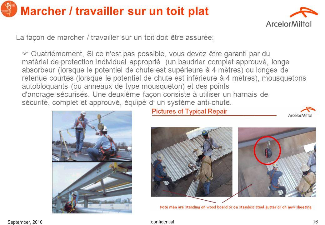 confidential September, 2010 15 La façon de marcher / travailler sur un toit doit être assurée; Troisièmement, si ce n'est pas possible, vous pouvez u