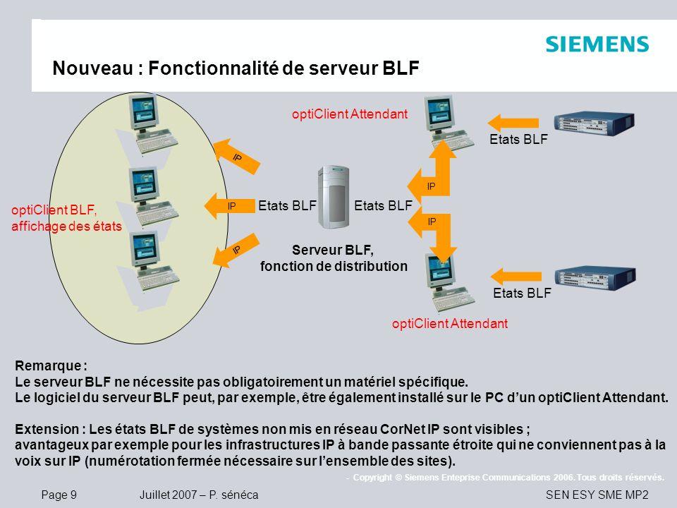 Page 9 Juillet 2007 – P. sénéca SEN ESY SME MP2 - Copyright © Siemens Enteprise Communications 2006. Tous droits réservés. Nouveau : Fonctionnalité de
