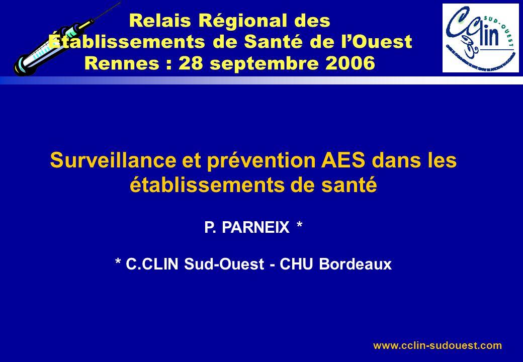 www.cclin-sudouest.com Surveillance et prévention AES dans les établissements de santé P. PARNEIX * * C.CLIN Sud-Ouest - CHU Bordeaux Relais Régional