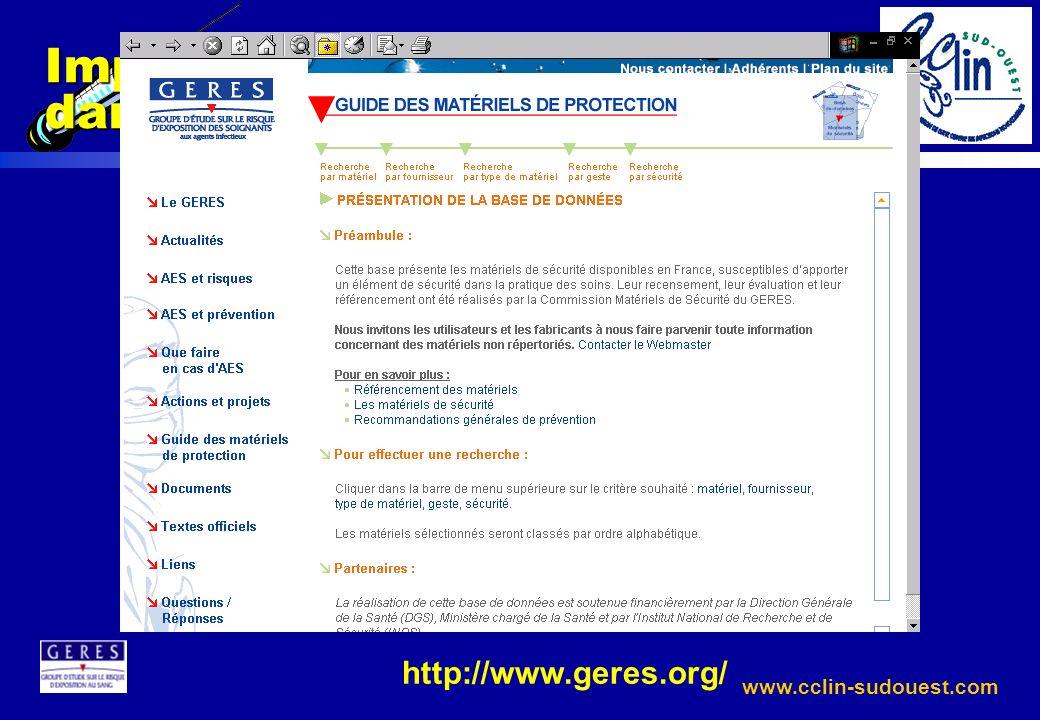 www.cclin-sudouest.com Impact des matériels de sécurité dans la prévention des AES http://www.geres.org/