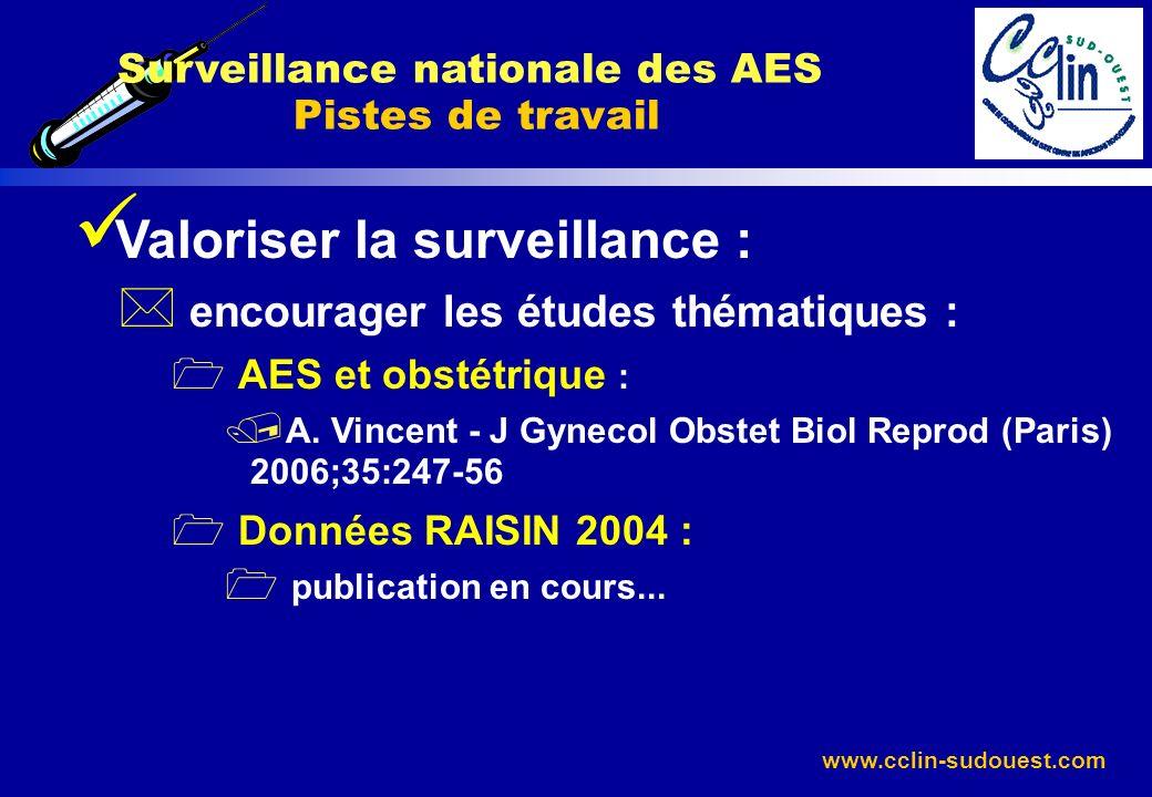 www.cclin-sudouest.com Valoriser la surveillance : * encourager les études thématiques : 1 AES et obstétrique : / A. Vincent - J Gynecol Obstet Biol R