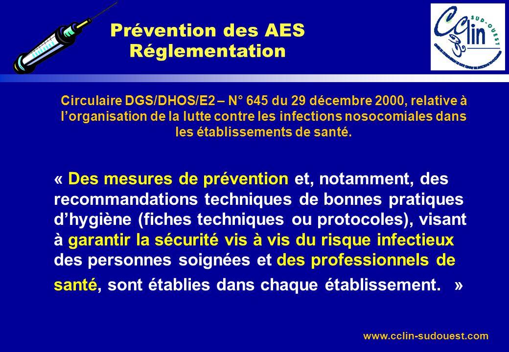www.cclin-sudouest.com Circulaire DGS/DHOS/E2 – N° 645 du 29 décembre 2000, relative à lorganisation de la lutte contre les infections nosocomiales da