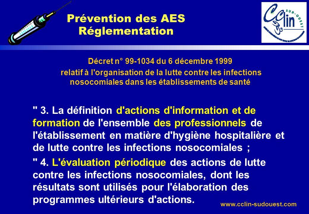 www.cclin-sudouest.com Décret n° 99-1034 du 6 décembre 1999 relatif à l'organisation de la lutte contre les infections nosocomiales dans les établisse