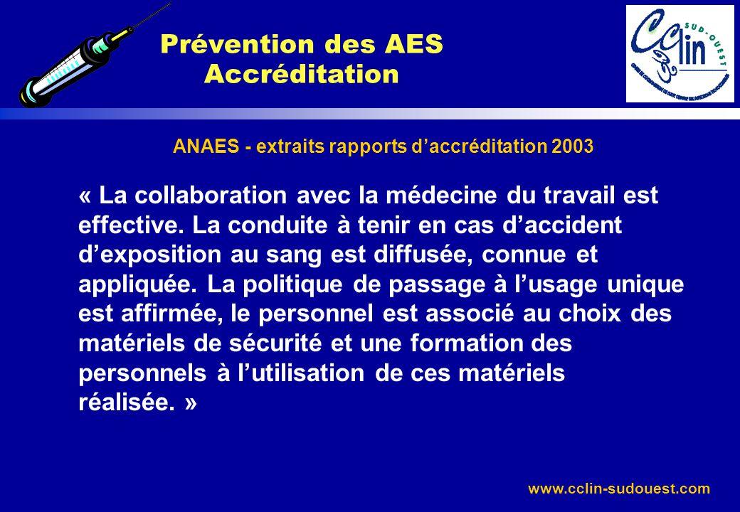www.cclin-sudouest.com ANAES - extraits rapports daccréditation 2003 « La collaboration avec la médecine du travail est effective. La conduite à tenir