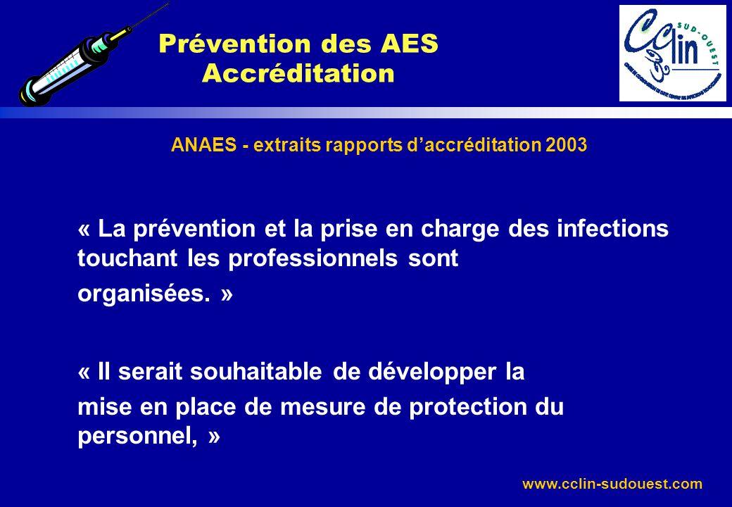 www.cclin-sudouest.com ANAES - extraits rapports daccréditation 2003 « La prévention et la prise en charge des infections touchant les professionnels