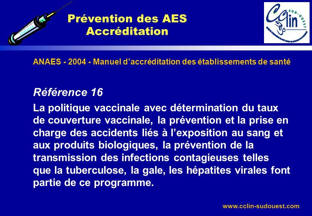 www.cclin-sudouest.com ANAES - 2004 - Manuel daccréditation des établissements de santé Référence 16 La politique vaccinale avec détermination du taux
