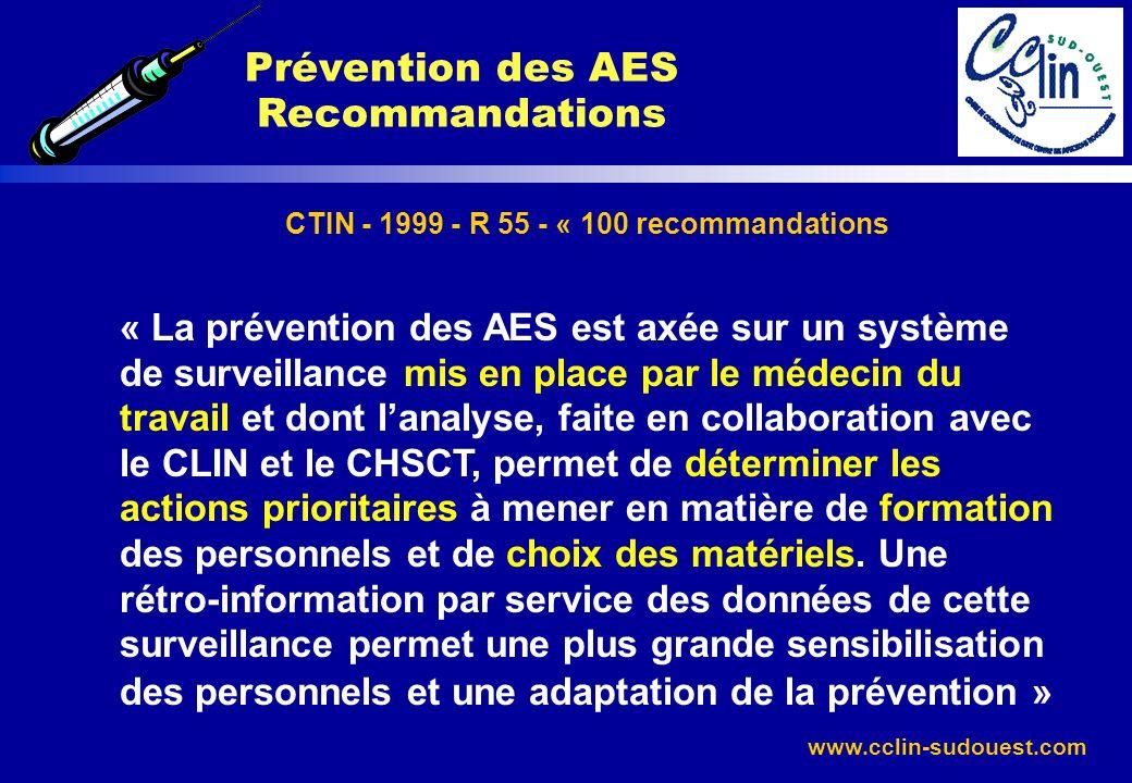 www.cclin-sudouest.com CTIN - 1999 - R 55 - « 100 recommandations « La prévention des AES est axée sur un système de surveillance mis en place par le