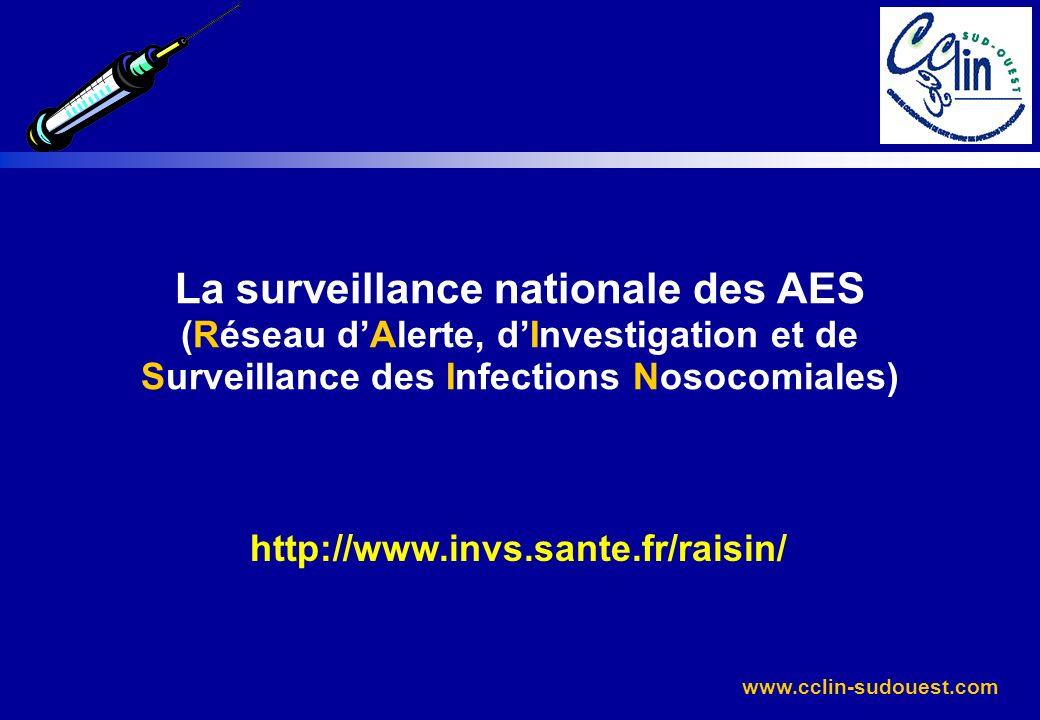 www.cclin-sudouest.com La surveillance nationale des AES (Réseau dAlerte, dInvestigation et de Surveillance des Infections Nosocomiales) http://www.in