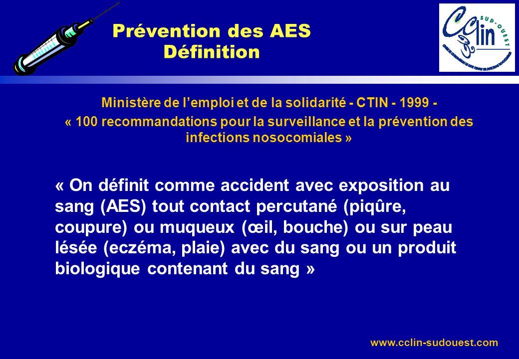 www.cclin-sudouest.com Ministère de lemploi et de la solidarité - CTIN - 1999 - « 100 recommandations pour la surveillance et la prévention des infect