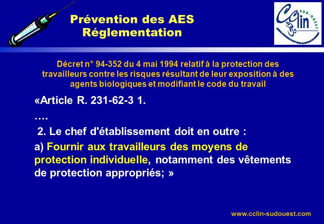 www.cclin-sudouest.com Décret n° 94-352 du 4 mai 1994 relatif à la protection des travailleurs contre les risques résultant de leur exposition à des a