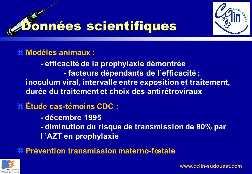 www.cclin-sudouest.com Données scientifiques zModèles animaux : - efficacité de la prophylaxie démontrée - facteurs dépendants de lefficacité : inocul