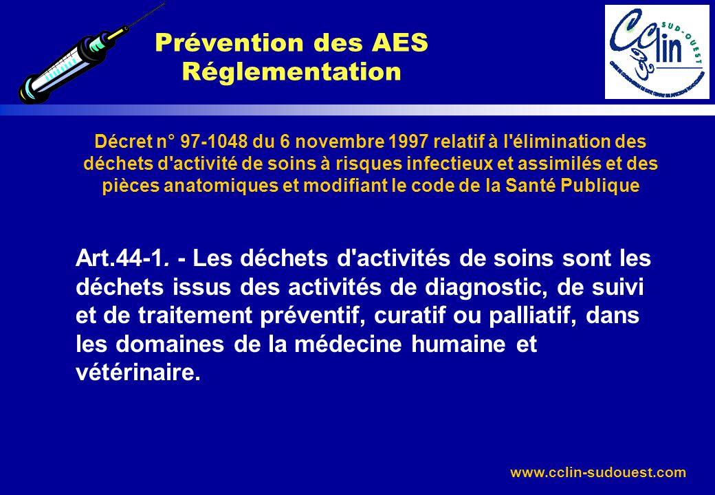 www.cclin-sudouest.com Décret n° 97-1048 du 6 novembre 1997 relatif à l'élimination des déchets d'activité de soins à risques infectieux et assimilés