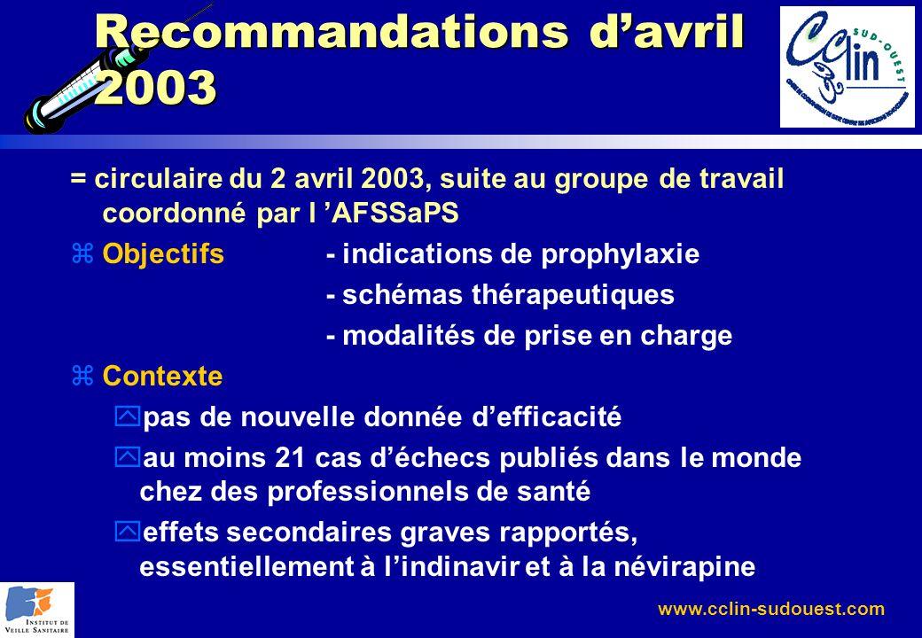 www.cclin-sudouest.com Recommandations davril 2003 = circulaire du 2 avril 2003, suite au groupe de travail coordonné par l AFSSaPS zObjectifs- indica