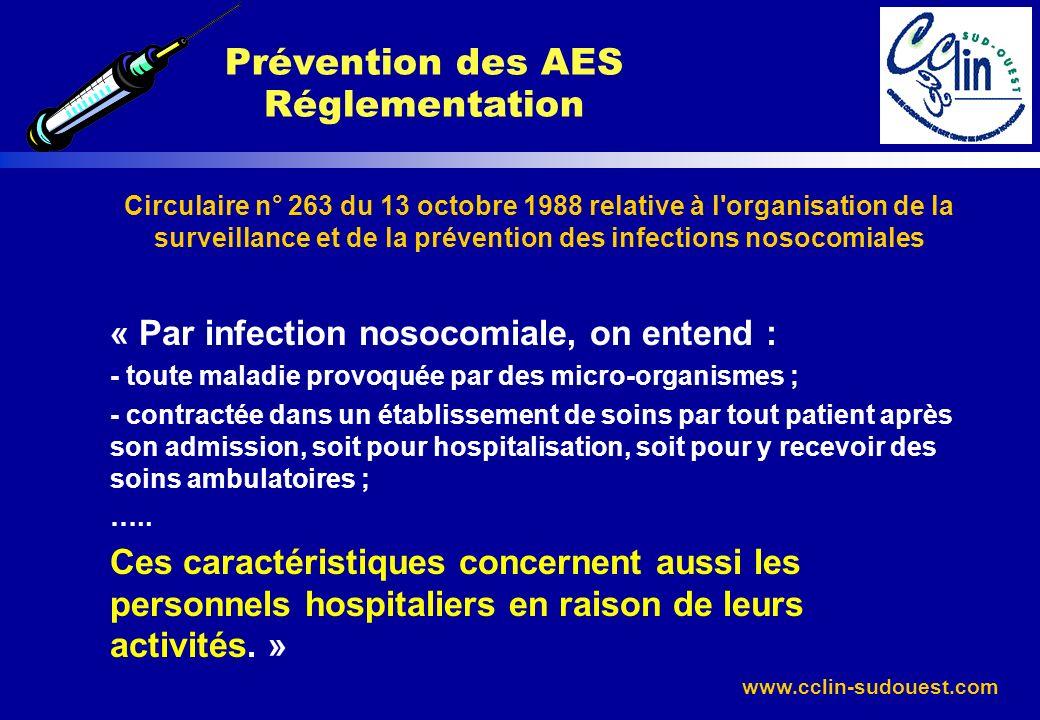 www.cclin-sudouest.com Circulaire n° 263 du 13 octobre 1988 relative à l'organisation de la surveillance et de la prévention des infections nosocomial
