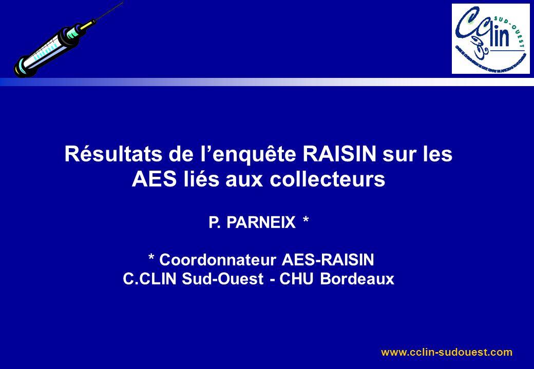 www.cclin-sudouest.com Résultats de lenquête RAISIN sur les AES liés aux collecteurs P. PARNEIX * * Coordonnateur AES-RAISIN C.CLIN Sud-Ouest - CHU Bo