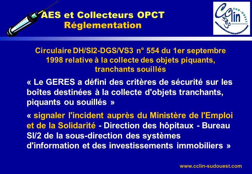 www.cclin-sudouest.com Circulaire DH/SI2-DGS/VS3 n° 554 du 1er septembre 1998 relative à la collecte des objets piquants, tranchants souillés « Le GER
