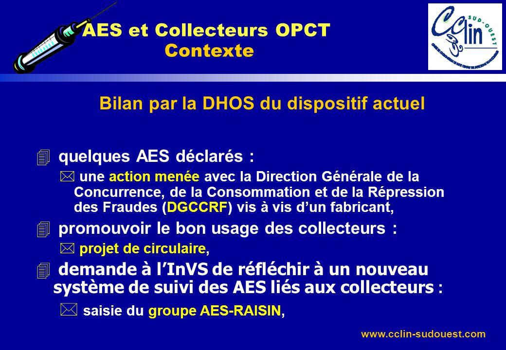 www.cclin-sudouest.com Bilan par la DHOS du dispositif actuel 4 quelques AES déclarés : * une action menée avec la Direction Générale de la Concurrenc
