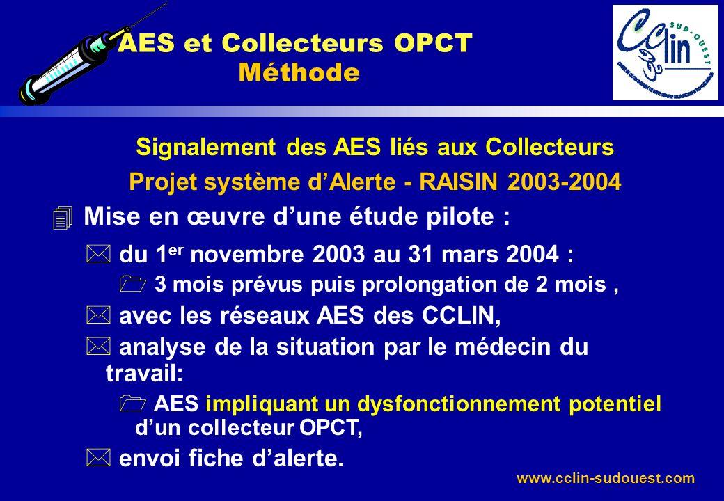 www.cclin-sudouest.com Signalement des AES liés aux Collecteurs Projet système dAlerte - RAISIN 2003-2004 4 Mise en œuvre dune étude pilote : * du 1 e