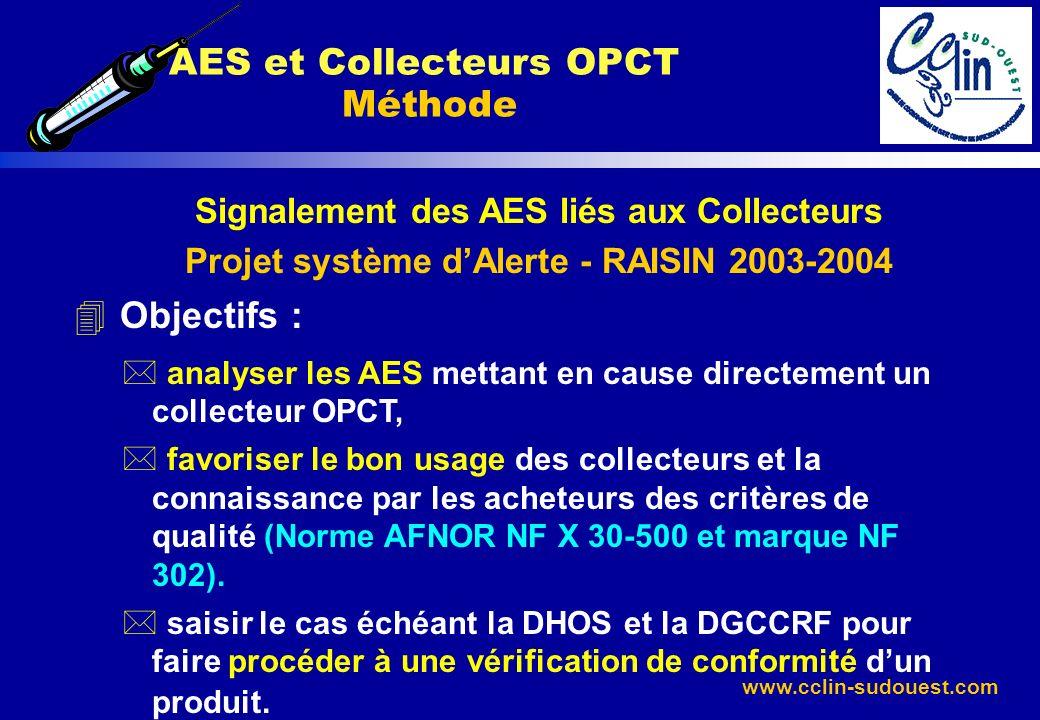 www.cclin-sudouest.com Signalement des AES liés aux Collecteurs Projet système dAlerte - RAISIN 2003-2004 4 Objectifs : * analyser les AES mettant en
