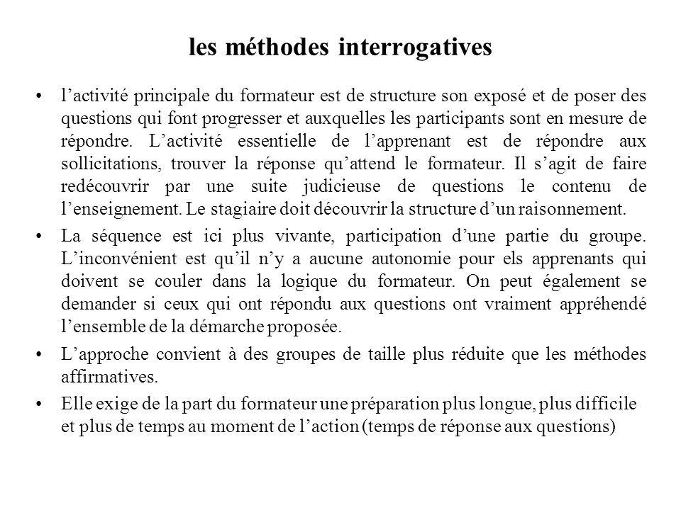 les méthodes interrogatives lactivité principale du formateur est de structure son exposé et de poser des questions qui font progresser et auxquelles les participants sont en mesure de répondre.