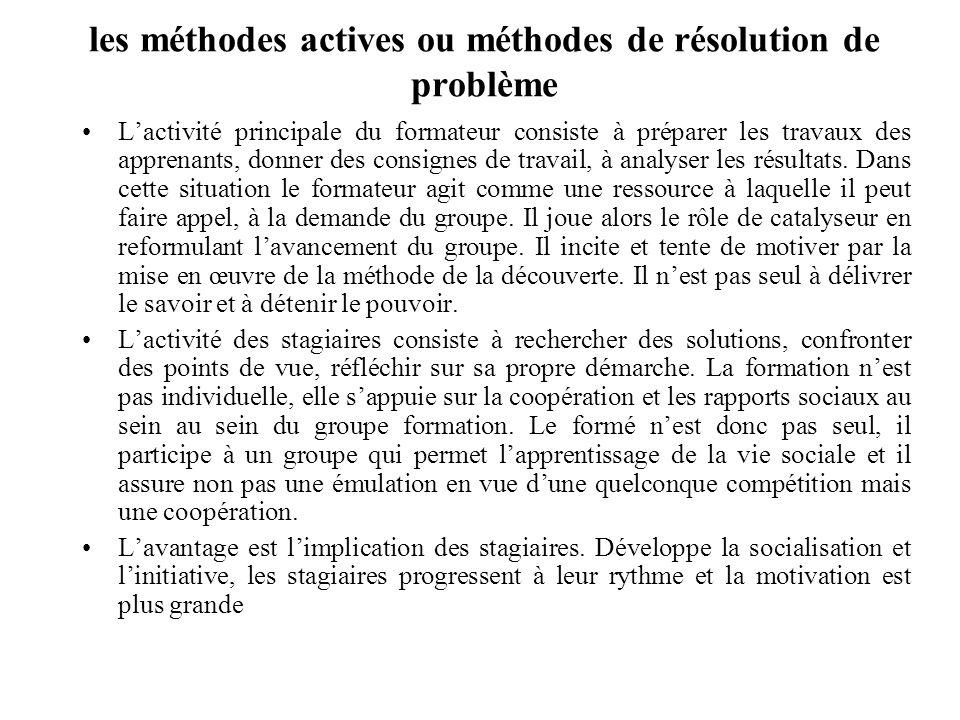 les méthodes actives ou méthodes de résolution de problème Lactivité principale du formateur consiste à préparer les travaux des apprenants, donner des consignes de travail, à analyser les résultats.