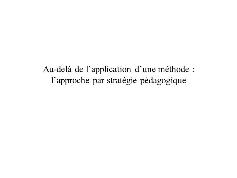 Au-delà de lapplication dune méthode : lapproche par stratégie pédagogique