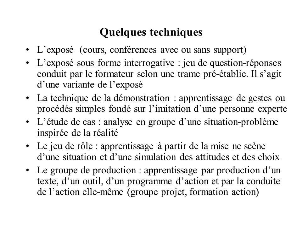 Quelques techniques Lexposé (cours, conférences avec ou sans support) Lexposé sous forme interrogative : jeu de question-réponses conduit par le formateur selon une trame pré-établie.